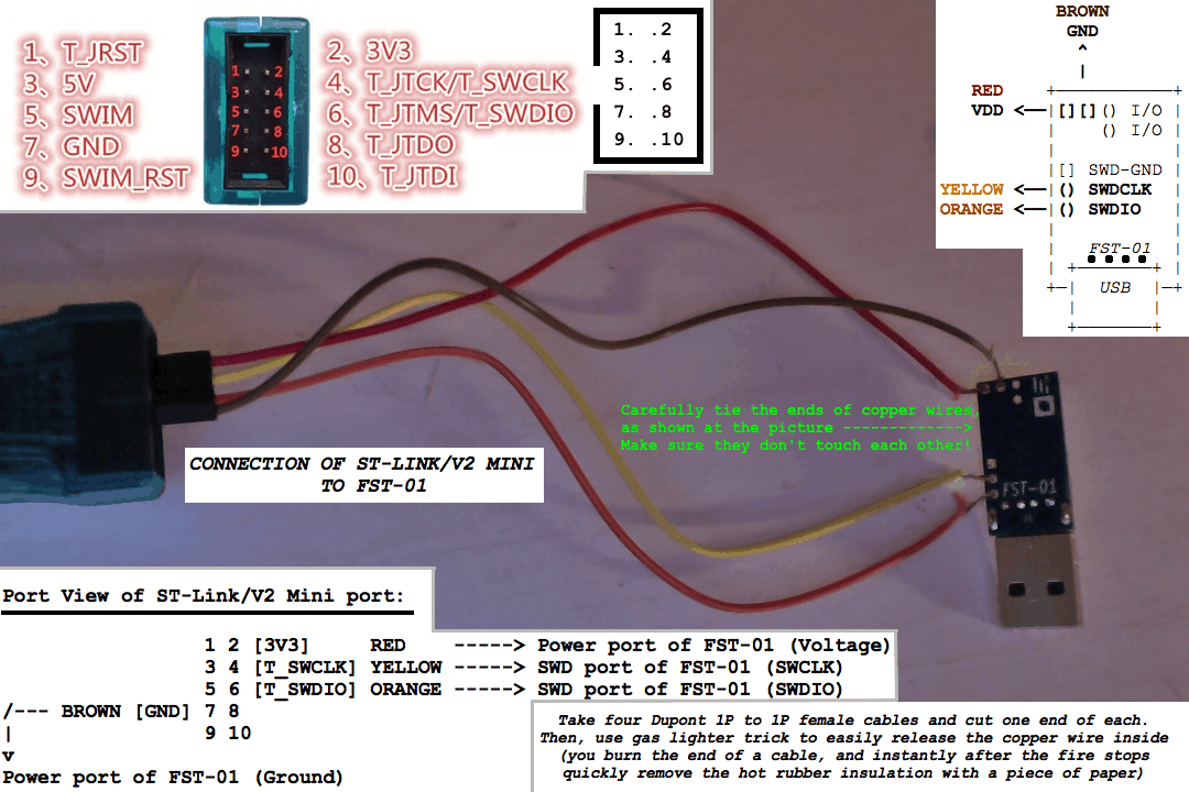 Connection of ST-Link/V2 compatible to FST-01